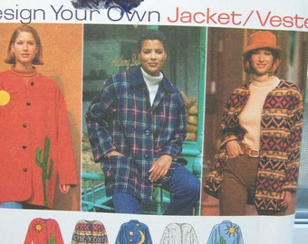 SALE Simplicity 9287 Jacket Sewing Pattern - Design your Own Jacket with Optional Lining and Hood, Easy Sewing