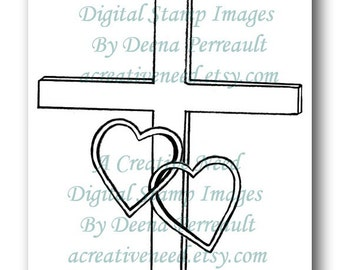 INSTANT DOWNLOAD Digital Stamp Image Cross with Intertwined Hearts