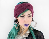 Burgundy Knit Jersey Turban Twist HeadBand