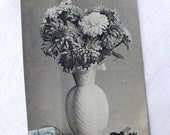 French Antique Flower Bouquet Postcard - Antique Love Poem Card - Antique Black and White Photography Collectible Card