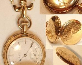 Figural 14KT rose Gold Elgin Pocketwatch & brooch Antique fob holder