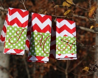 Camera Strap Cover- lens cap pocket and padding included- Monogrammed Holly Jolly Red Chevron