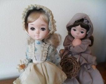 Vintage Old Fashion Prairie Dolls Set of 2 by Bradley and Brinn 1970s