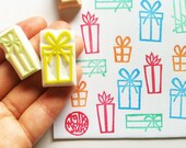 gift box rubber stamps. present hand carved rubber stamps. christmas/birthday craft projects. gift wrapping. gift tags card making. set of 4