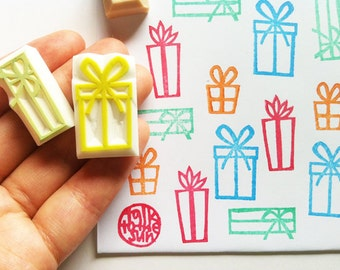 gift box rubber stamps. present hand carved rubber stamps. christmas card making. birthday scrapbooking. gift wrapping. set of 4