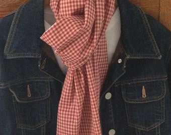 Red and Ecru Gingham Scarf - A little Bit Country - Extra Long