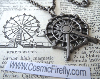 Ferris Wheel Necklace Pewter Tone Metal Pendant Amusement Park Ride Steampunk Necklace State Fair Ride Coney Island World's Fair