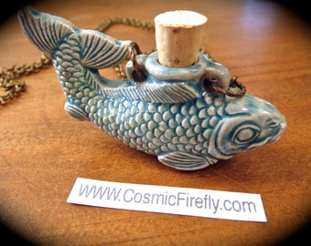 Black Friday Sale Cyber Monday Blue Fish Necklace Rustic Blue Glazed Ceramic Bottle Nautical Sea Jewelry Antiqued Brass Rolo Chain Steampunk