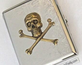 Big Cigarette Case Brass Skull & Crossbones Gothic Victorian Pirate Case Steampunk Case Vintage Style Mixed Metals