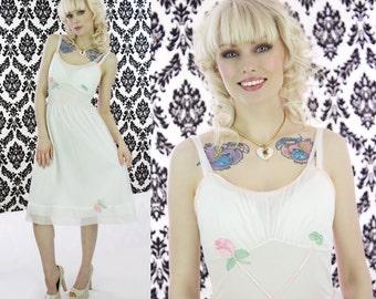 60s Slip Dress Vintage 1960s 50s Lovely White Roses Sheer Overlay Nightgown Gown Mini Nightie Small S
