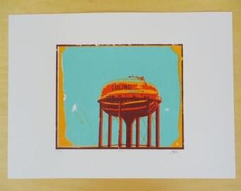 Luling Water Tower Silkscreen Print