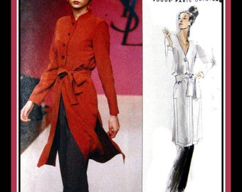Vogue Paris Original- Sewing Pattern-French Couturier -YVES SAINT LAURENT-Elegant Tunic- Sash -Pants- Ensemble -Uncut- Size 12-16- Opp -Rare