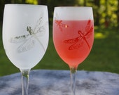 Dragonfly Frosted Etched Wine Glasses Set Of 2