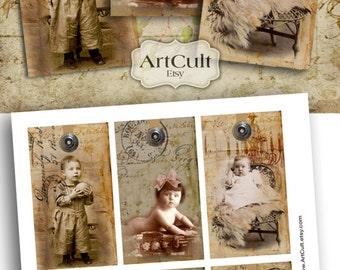 BABIES - Ephemera Gift Tags Digital Collage Sheet  Printable download Images Vintage Paper Craft Scrapbook
