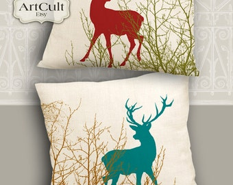 Two Printable Images DEERS print-it-yourself Digital sheets to print on fabric paper Iron On Transfer for totes t-shirts pillows home decor