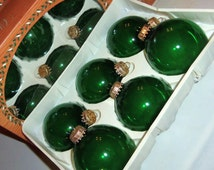 Vintage Christmas Ornaments 6 KREBS Crown Designer Glass Ball Decoration unused NOS Crystal Clear emerald Green