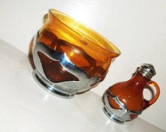 Vintage Chrome & Amber Glass Salt Shaker and Open Sugar Bowl Farber Metal Cambridge Glass