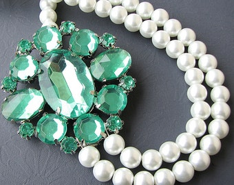 Wedding Jewelry Green Statement Necklace Bridal Jewelry Emerald Necklace Pearl Necklace Double Strand