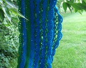 blue and green crochet wool lace cowl