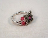 Pink Swarovski Stretch Ring, Gift for Her, Crystal Stretch Band Ring, Pink RIng, Crystal Ring, Womens Jewelry