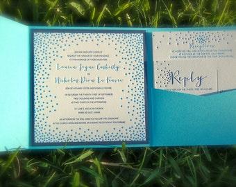 Letterpress Wedding Invitations  Deposit Navy and Aqua Dots