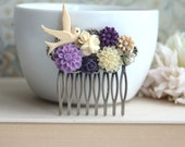 Purple Wedding Comb, Purple Chrysanthemum, Bird, Ivory, Pearl, Flower Hair Comb. Purple Wedding. Bridesmaids Gift. Nature Wedding Hair Comb