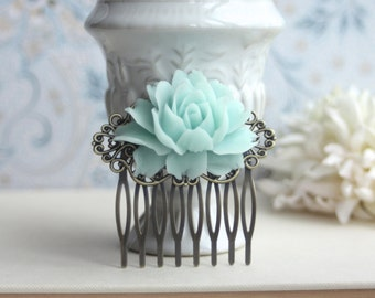 Mint Wedding Mint Rose Comb Wedding Comb Bridal Comb Antiqued Brass Flower Hair Comb Green Wedding Mint Floral Hair Comb Bridal Hair Comb