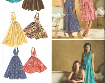 Halter Dress Maxi Length Simplicity 3823 Sewing Pattern Size 6 8 10 12 14 Bust 30.5 31.5 32.5 34 36