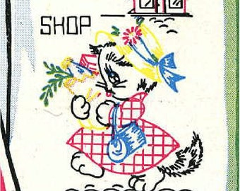 Vintage Hand Embroidery PATTERN in PDF File Vogart 696 Kittens for Days of the Week Towels 1950s Instant Download