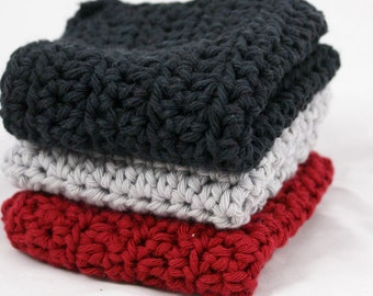 Crochet Dishcloths Cotton Washcloths in Modern Stainless Steel Colors Set of 3
