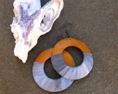 Ombre, Indigo, Natural Earrings, Festival, Hoop Earrings, Eco Chic, Cotton,Textile Jewelry, Hand Painted, Fabric, Boho Chic  - ATLANTIC-
