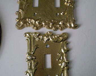 Vintage Set Of Two Art Deco Double Toggle Light  Switch Plate And Single Toggle Brilliant Gold