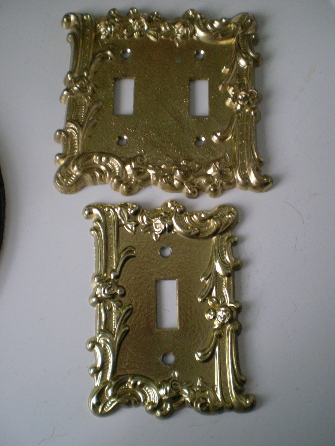 Vintage Set Of Two Art Deco Double Toggle Light Switch Plate