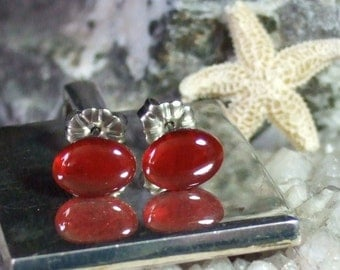 Carnelian Oval Stud Post Earrings Earings Titanium Ear Wires Hypo Allergenic Handmade in Newfoundland Energizes
