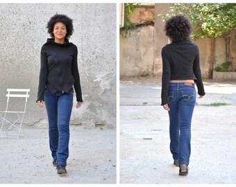 Asymmetrical Jacket,  Black Jacket, Short Jacket, Autumn Jacket, Womens Cardigan, High Collar Jacket, Womens Outerwear, Womens Sweatshirt