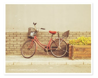 Red Bicycle Photography, Beijing China city street photograph, Bike photo, Architecture photo, Urban print, Dreamy Whimsical Hipster