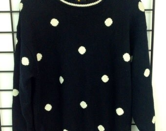 The Vintage Black Polka Dot Print Sweater Dress