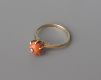 Antique Coral & Diamond Ring. 14K Gold. Claw Set Ball.