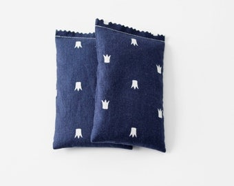 Modern Lavender Bags, White Crowns on Navy Blue, Moth Repellent, Scented Sachets for a Queen