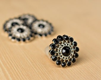 Black Rhinestone Button - 5 - Acyrlic Rhinestone Buttons - Chloe Button - 26mm - Plastic Buttons - Acrylic Buttons