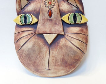 Abstract Kitty Ceramic Wall Mask Porcelain sculpture
