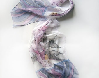 Orchids hand painted scarf. Silk chiffon scarf in purple and radiant orchid shades. Painted silk scarf, Wedding accessories Bridesmaids gift