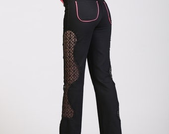30% SALE Sz. 4-6 Women's Lace High Waist Jeans Stretch Black and Hot Pink Bamboo Punk Rocker Funky Fresh Hot Pink Sexy