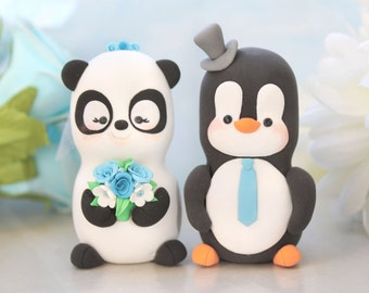Unique wedding cake toppers Panda, Penguin - funny bride and groom figurines wedding gift cute personalized elegant black white blue