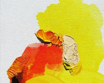 """Colorful Original Abstract Art, yellow, red, orange, 10 x 8.5""""-- """"Autumn IV"""""""