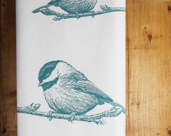Chickadee Bird Tea Towel in Dusty Blue - Hand Printed Flour Sack Tea Towel