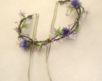Lavender head piece flower crown hair wreath purple vine circlet -Danielle- wildflower headwreath Bridal Wedding Accessories Woodland