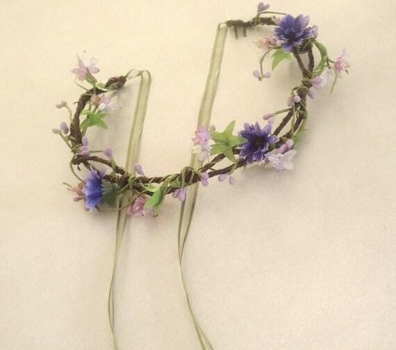 Lavender head piece flower crown hair wreath purple vine circlet -Danielle- wildflower headwreath Bridal Wedding Accessories Woodland