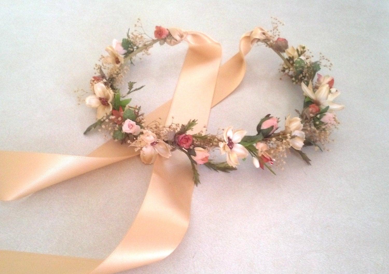 Bridal Flower Wreath For Hair : Bridal flower crown woodland hair wreath circlet dried flowers