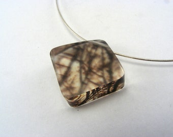 Brown Branches Diamond Shape Pendant, Sterling Silver Wire, handmade